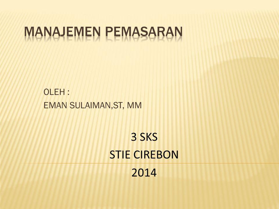 OLEH : EMAN SULAIMAN,ST, MM 3 SKS STIE CIREBON 2014