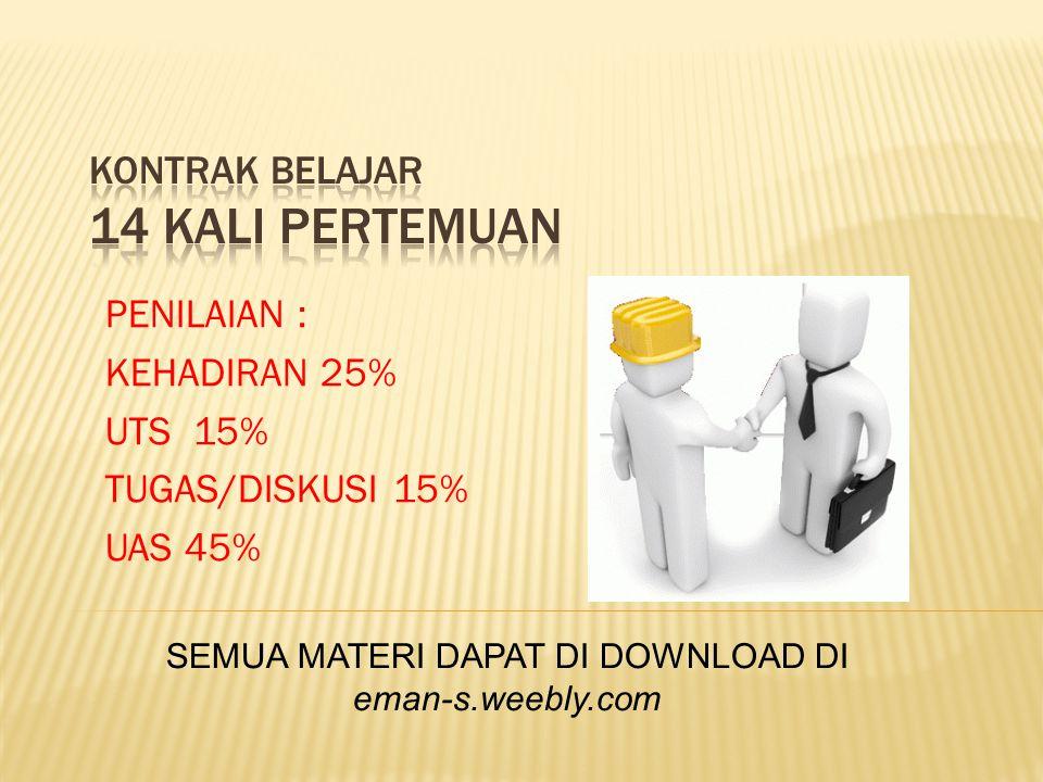 PENILAIAN : KEHADIRAN 25% UTS 15% TUGAS/DISKUSI 15% UAS 45% SEMUA MATERI DAPAT DI DOWNLOAD DI eman-s.weebly.com