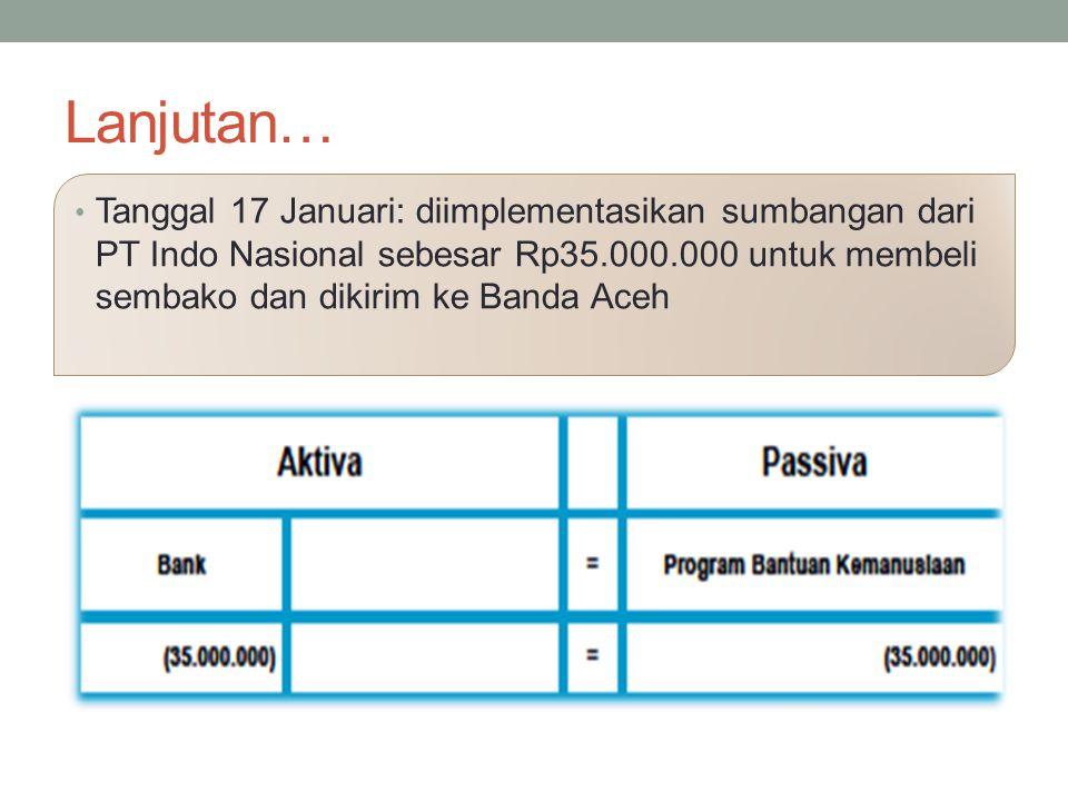 Lanjutan… Tanggal 17 Januari: diimplementasikan sumbangan dari PT Indo Nasional sebesar Rp35.000.000 untuk membeli sembako dan dikirim ke Banda Aceh