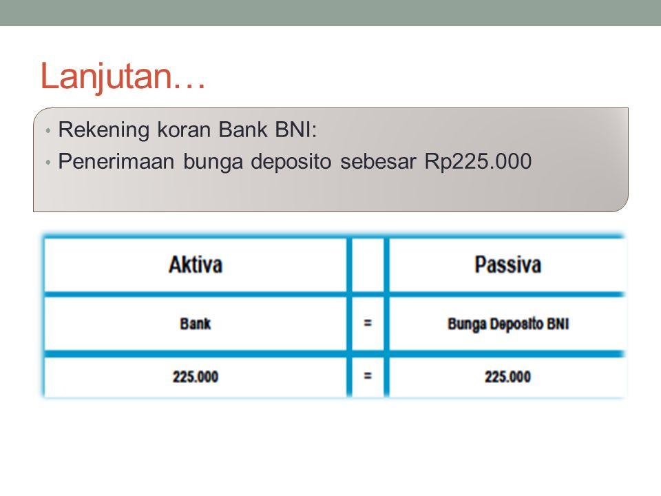 Lanjutan… Rekening koran Bank BNI: Penerimaan bunga deposito sebesar Rp225.000