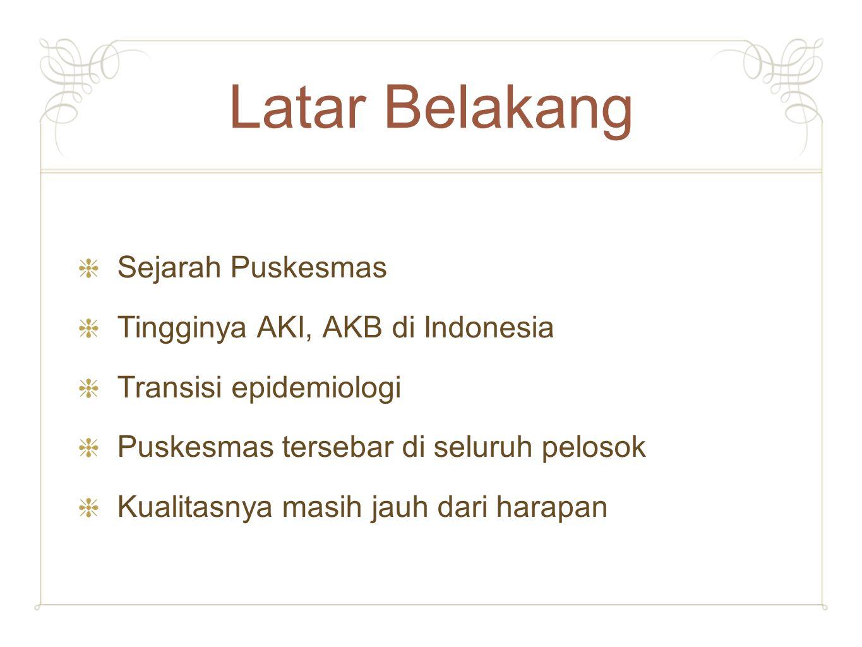 Latar Belakang Sejarah Puskesmas Tingginya AKI, AKB di Indonesia Transisi epidemiologi Puskesmas tersebar di seluruh pelosok Kualitasnya masih jauh da