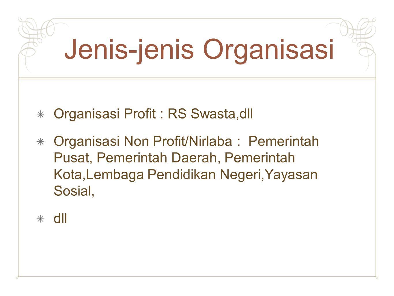 Jenis-jenis Organisasi Organisasi Profit : RS Swasta,dll Organisasi Non Profit/Nirlaba : Pemerintah Pusat, Pemerintah Daerah, Pemerintah Kota,Lembaga