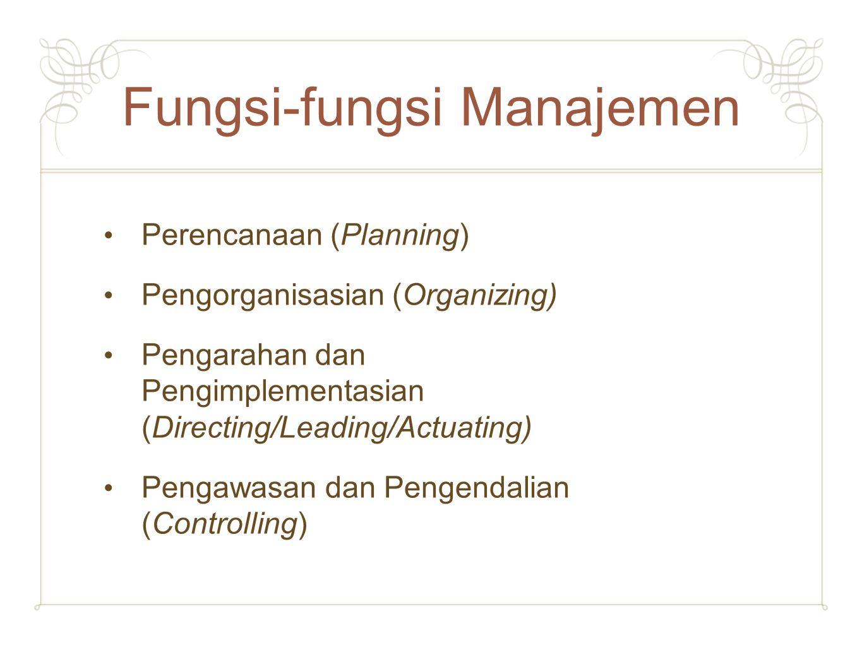 Fungsi-fungsi Manajemen Perencanaan (Planning) Pengorganisasian (Organizing) Pengarahan dan Pengimplementasian (Directing/Leading/Actuating) Pengawasa