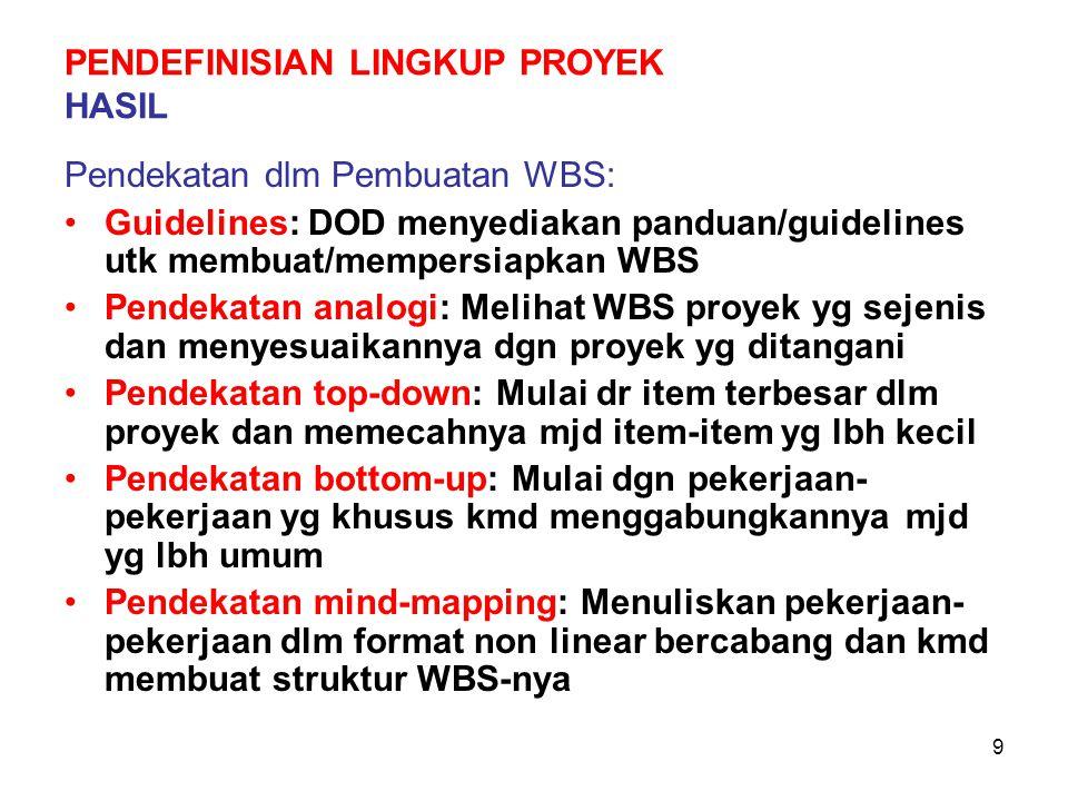 9 PENDEFINISIAN LINGKUP PROYEK HASIL Pendekatan dlm Pembuatan WBS: Guidelines: DOD menyediakan panduan/guidelines utk membuat/mempersiapkan WBS Pendekatan analogi: Melihat WBS proyek yg sejenis dan menyesuaikannya dgn proyek yg ditangani Pendekatan top-down: Mulai dr item terbesar dlm proyek dan memecahnya mjd item-item yg lbh kecil Pendekatan bottom-up: Mulai dgn pekerjaan- pekerjaan yg khusus kmd menggabungkannya mjd yg lbh umum Pendekatan mind-mapping: Menuliskan pekerjaan- pekerjaan dlm format non linear bercabang dan kmd membuat struktur WBS-nya
