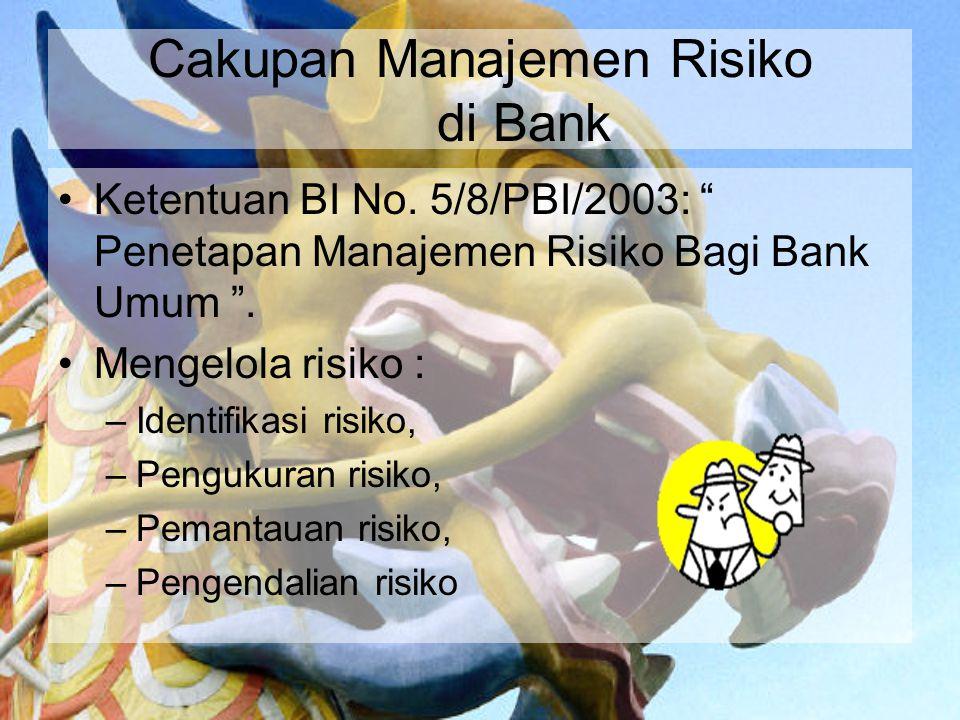 """Cakupan Manajemen Risiko di Bank Ketentuan BI No. 5/8/PBI/2003: """" Penetapan Manajemen Risiko Bagi Bank Umum """". Mengelola risiko : –Identifikasi risiko"""