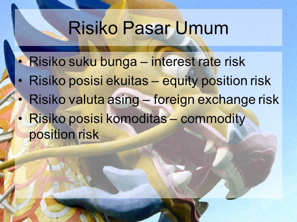 Risiko Pasar Umum Risiko suku bunga – interest rate risk Risiko posisi ekuitas – equity position risk Risiko valuta asing – foreign exchange risk Risi