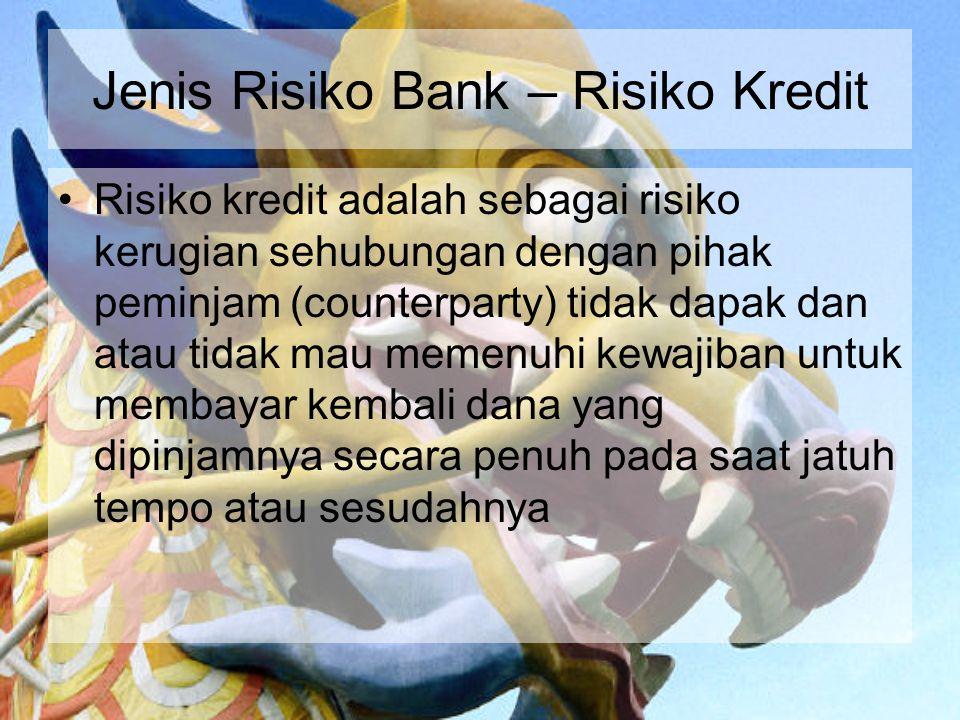 Jenis Risiko Bank – Risiko Kredit Risiko kredit adalah sebagai risiko kerugian sehubungan dengan pihak peminjam (counterparty) tidak dapak dan atau ti