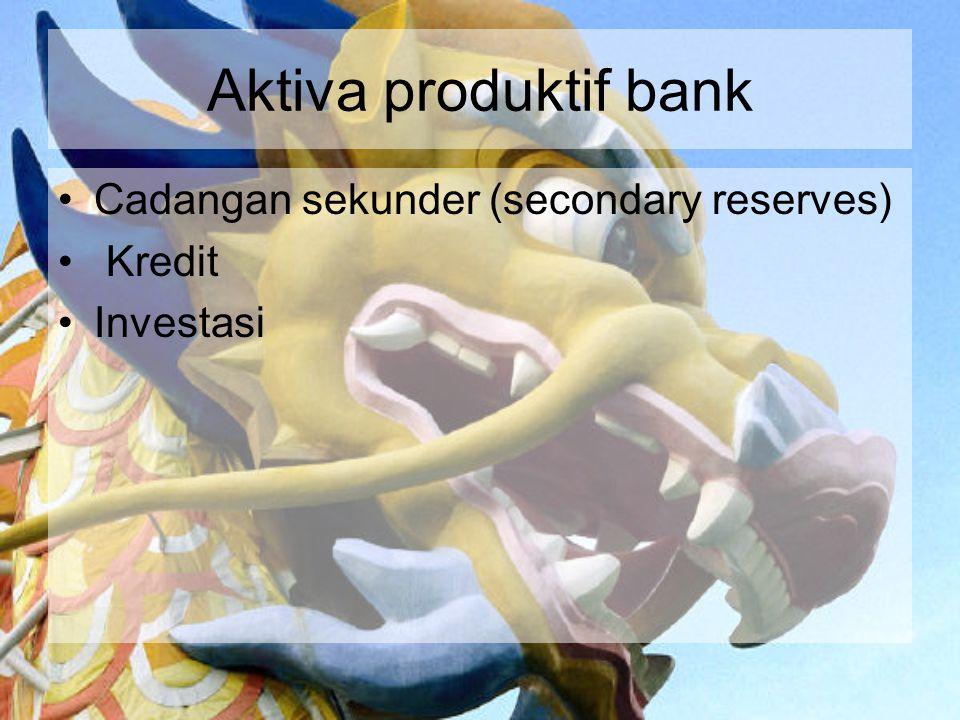 Aktiva produktif bank Cadangan sekunder (secondary reserves) Kredit Investasi