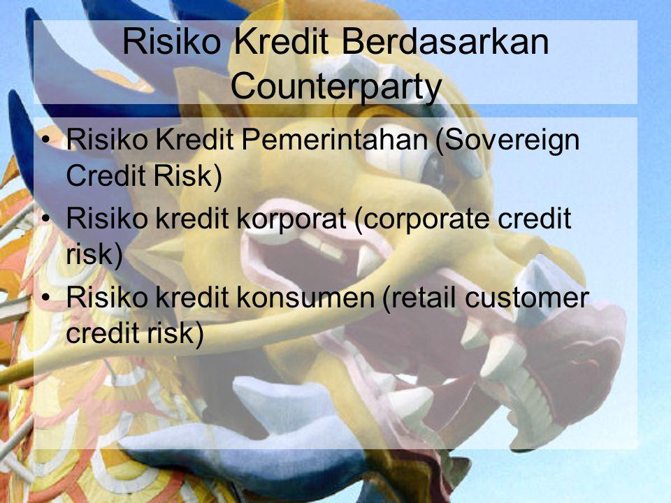 Risiko Kredit Berdasarkan Counterparty Risiko Kredit Pemerintahan (Sovereign Credit Risk) Risiko kredit korporat (corporate credit risk) Risiko kredit