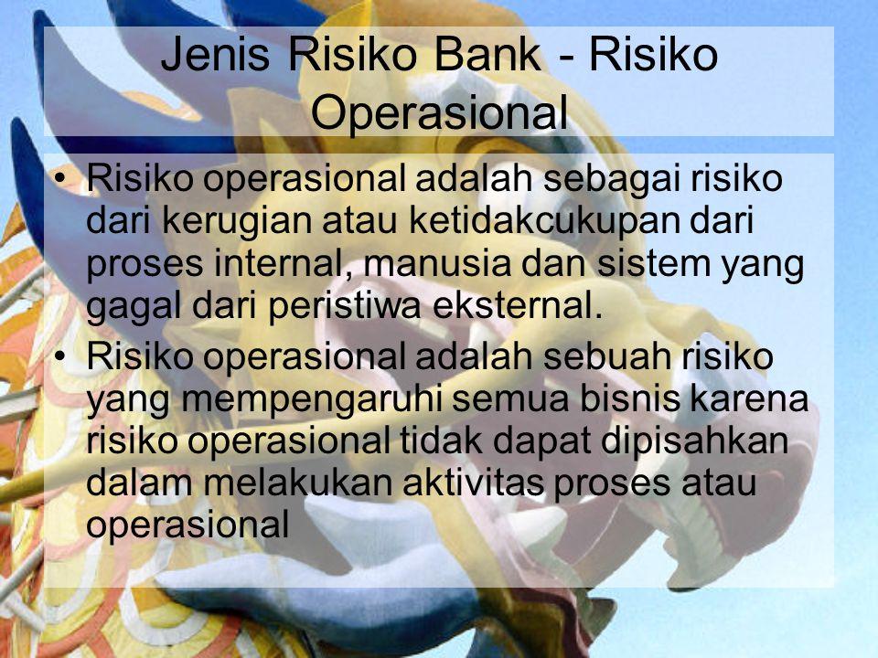 Jenis Risiko Bank - Risiko Operasional Risiko operasional adalah sebagai risiko dari kerugian atau ketidakcukupan dari proses internal, manusia dan si