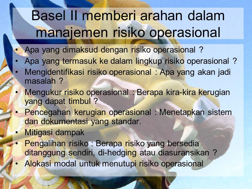 Basel II memberi arahan dalam manajemen risiko operasional Apa yang dimaksud dengan risiko operasional ? Apa yang termasuk ke dalam lingkup risiko ope
