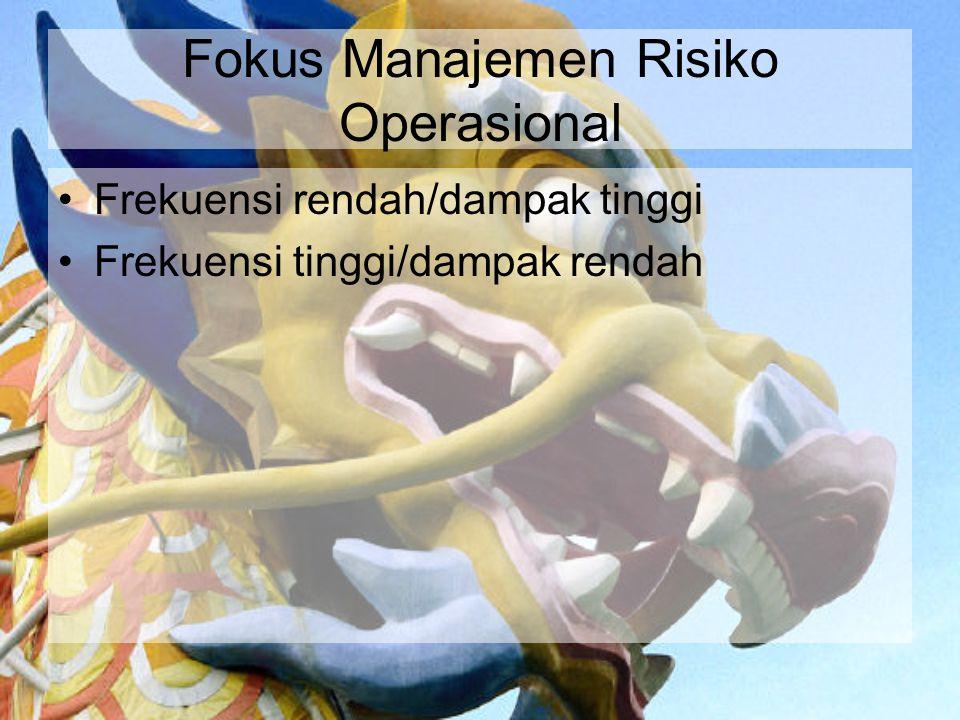 Fokus Manajemen Risiko Operasional Frekuensi rendah/dampak tinggi Frekuensi tinggi/dampak rendah