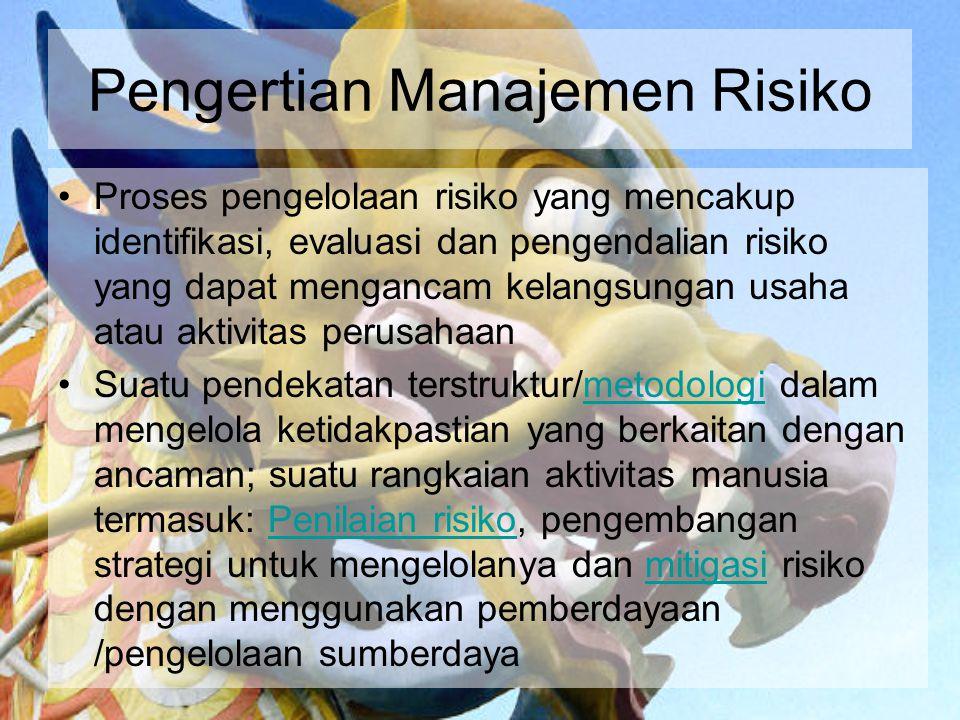 Pengertian Manajemen Risiko Proses pengelolaan risiko yang mencakup identifikasi, evaluasi dan pengendalian risiko yang dapat mengancam kelangsungan u