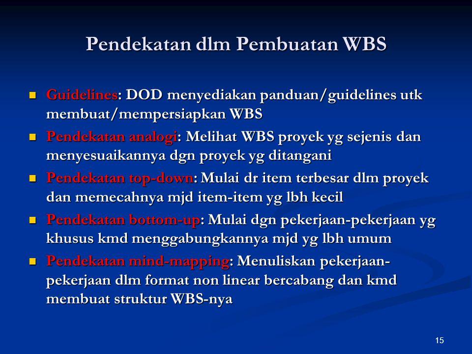 15 Pendekatan dlm Pembuatan WBS Guidelines: DOD menyediakan panduan/guidelines utk membuat/mempersiapkan WBS Guidelines: DOD menyediakan panduan/guide