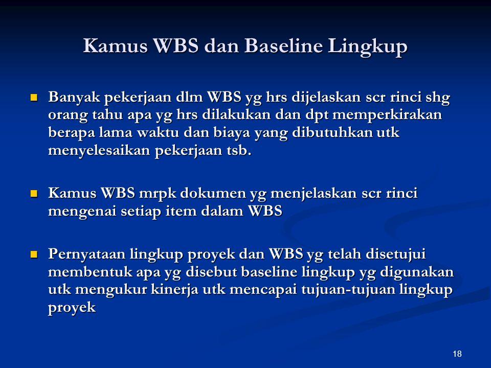 18 Kamus WBS dan Baseline Lingkup Banyak pekerjaan dlm WBS yg hrs dijelaskan scr rinci shg orang tahu apa yg hrs dilakukan dan dpt memperkirakan berap