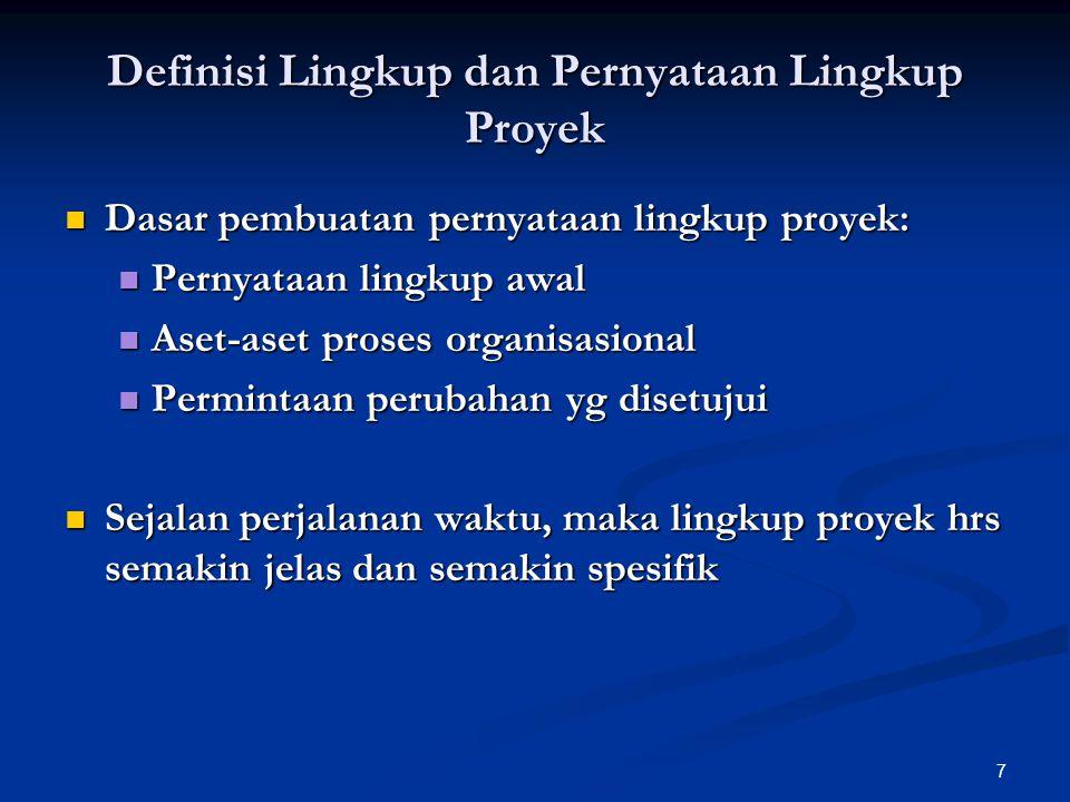 7 Definisi Lingkup dan Pernyataan Lingkup Proyek Dasar pembuatan pernyataan lingkup proyek: Dasar pembuatan pernyataan lingkup proyek: Pernyataan ling
