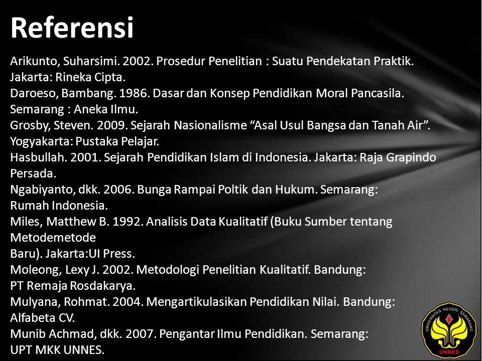 Referensi Arikunto, Suharsimi. 2002. Prosedur Penelitian : Suatu Pendekatan Praktik. Jakarta: Rineka Cipta. Daroeso, Bambang. 1986. Dasar dan Konsep P