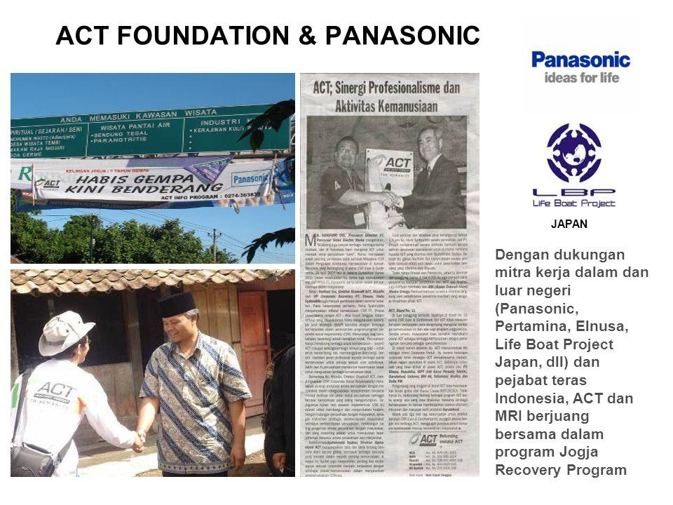 ACT FOUNDATION & PANASONIC Dengan dukungan mitra kerja dalam dan luar negeri (Panasonic, Pertamina, Elnusa, Life Boat Project Japan, dll) dan pejabat