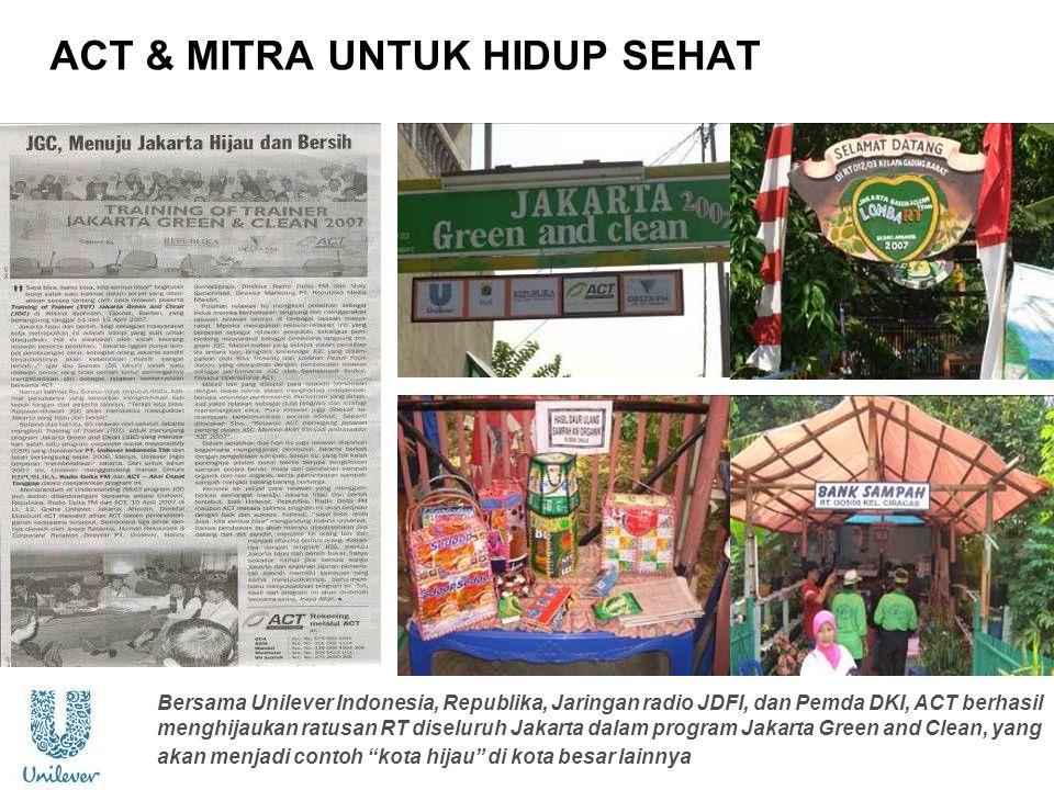 ACT & MITRA UNTUK HIDUP SEHAT Bersama Unilever Indonesia, Republika, Jaringan radio JDFI, dan Pemda DKI, ACT berhasil menghijaukan ratusan RT diseluru