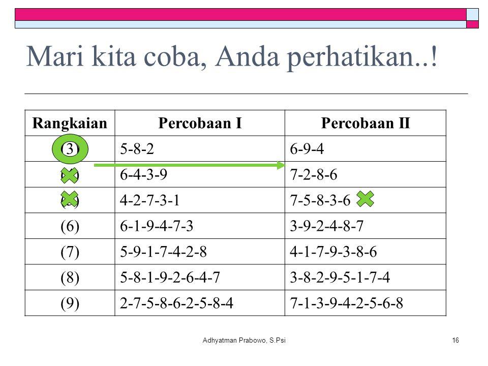 Mari kita coba, Anda perhatikan..! RangkaianPercobaan IPercobaan II (3)5-8-26-9-4 (4)6-4-3-97-2-8-6 (5)4-2-7-3-17-5-8-3-6 (6)6-1-9-4-7-33-9-2-4-8-7 (7