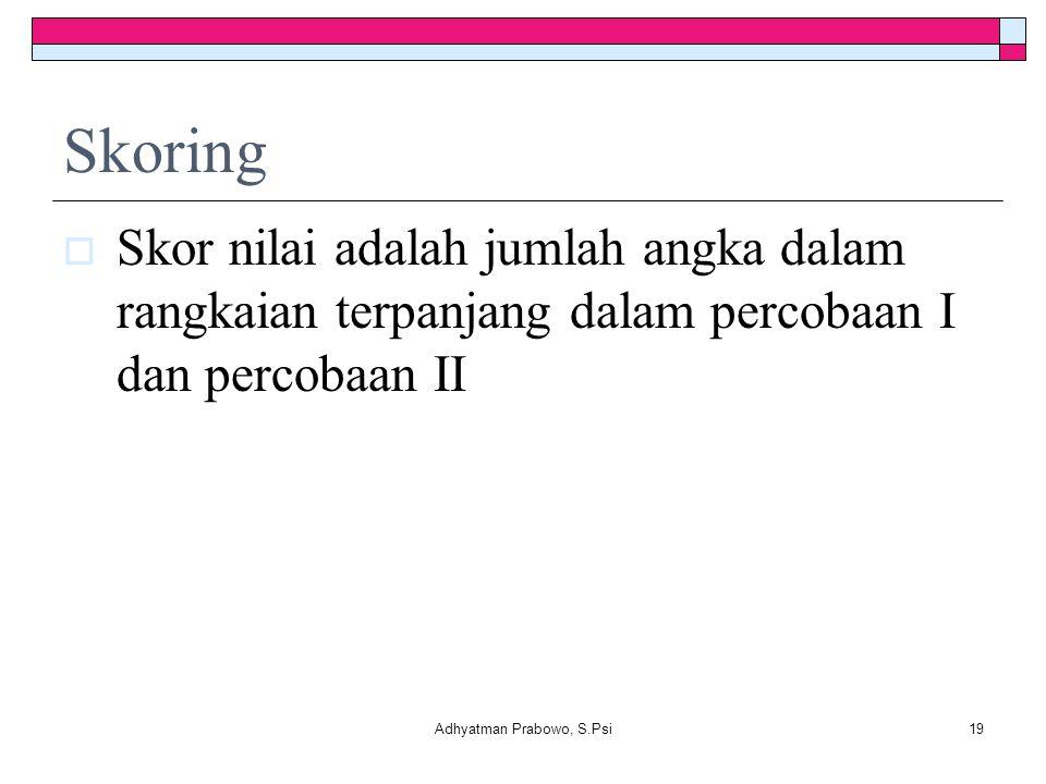 Skoring  Skor nilai adalah jumlah angka dalam rangkaian terpanjang dalam percobaan I dan percobaan II Adhyatman Prabowo, S.Psi19