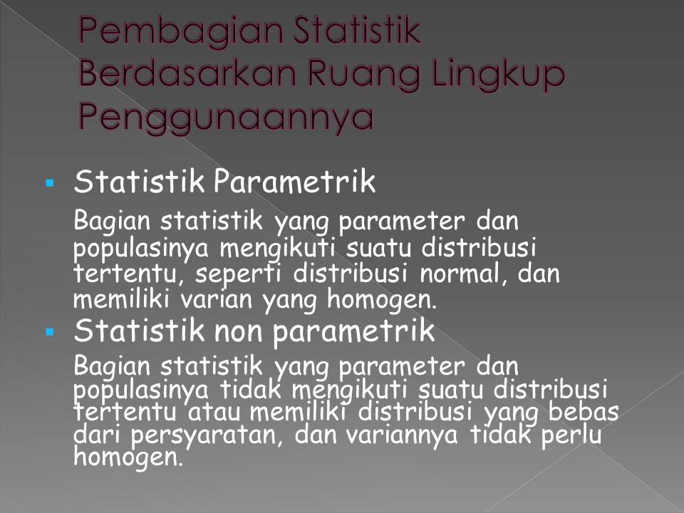  Statistik Parametrik Bagian statistik yang parameter dan populasinya mengikuti suatu distribusi tertentu, seperti distribusi normal, dan memiliki va