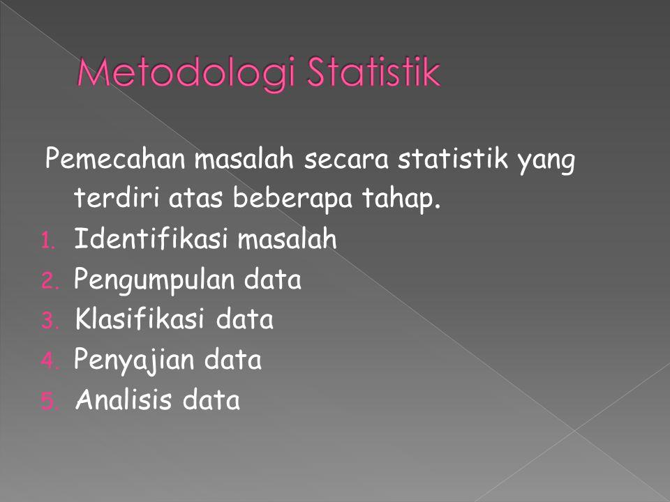 Pemecahan masalah secara statistik yang terdiri atas beberapa tahap. 1. Identifikasi masalah 2. Pengumpulan data 3. Klasifikasi data 4. Penyajian data