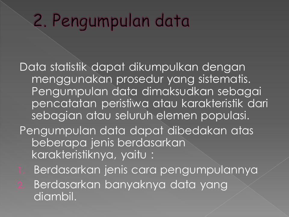 Data statistik dapat dikumpulkan dengan menggunakan prosedur yang sistematis. Pengumpulan data dimaksudkan sebagai pencatatan peristiwa atau karakteri