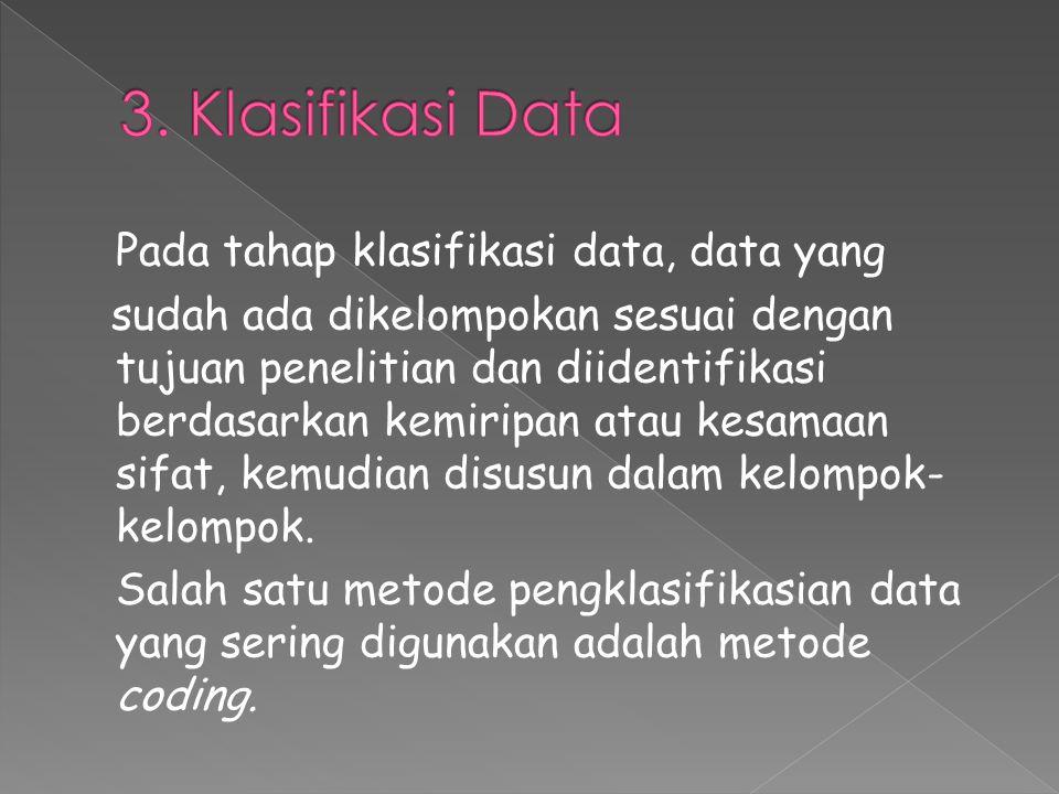 Pada tahap klasifikasi data, data yang sudah ada dikelompokan sesuai dengan tujuan penelitian dan diidentifikasi berdasarkan kemiripan atau kesamaan sifat, kemudian disusun dalam kelompok- kelompok.