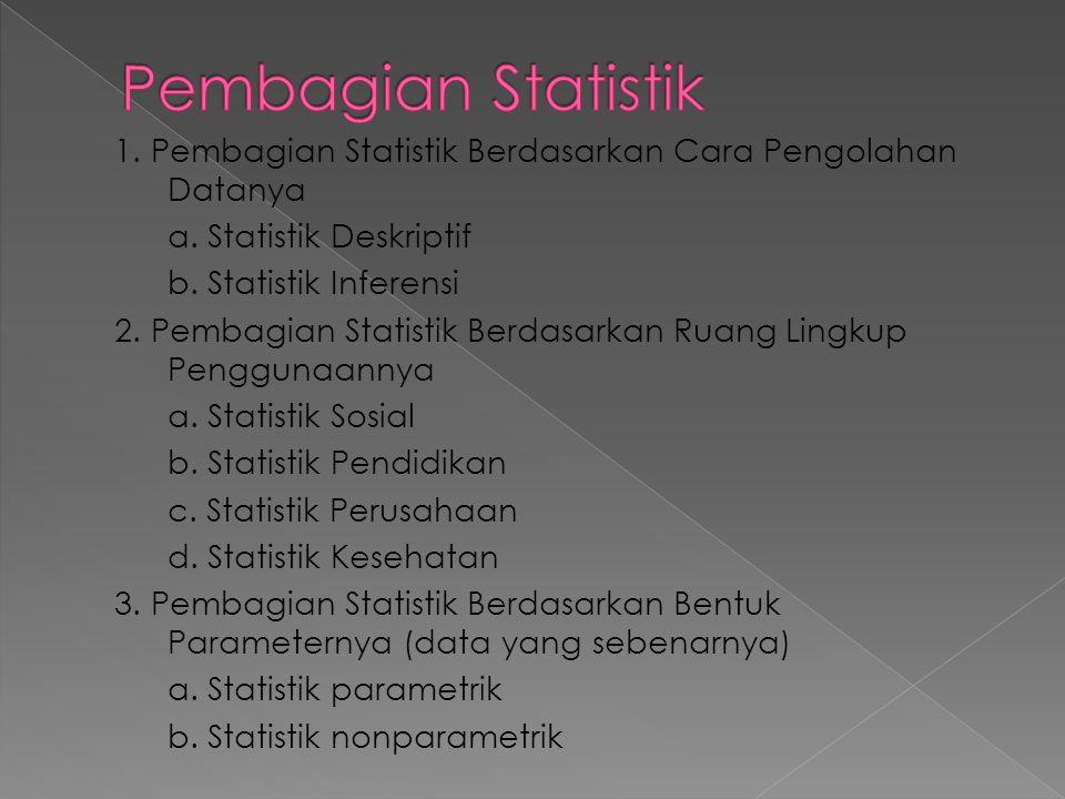 1. Pembagian Statistik Berdasarkan Cara Pengolahan Datanya a. Statistik Deskriptif b. Statistik Inferensi 2. Pembagian Statistik Berdasarkan Ruang Lin