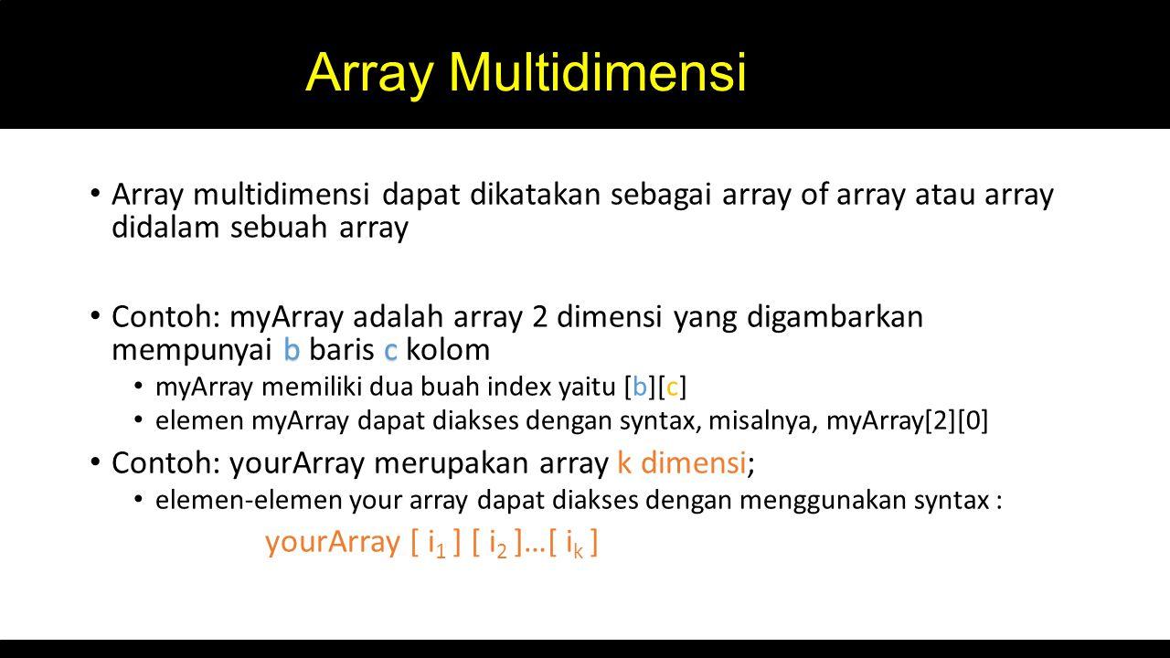Array Multidimensi Array multidimensi dapat dikatakan sebagai array of array atau array didalam sebuah array bc Contoh: myArray adalah array 2 dimensi
