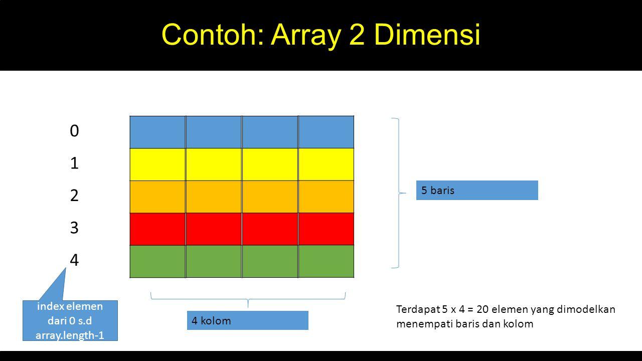 Contoh: Array 2 Dimensi 0 1 2 3 4 5 baris index elemen dari 0 s.d array.length-1 4 kolom Terdapat 5 x 4 = 20 elemen yang dimodelkan menempati baris da