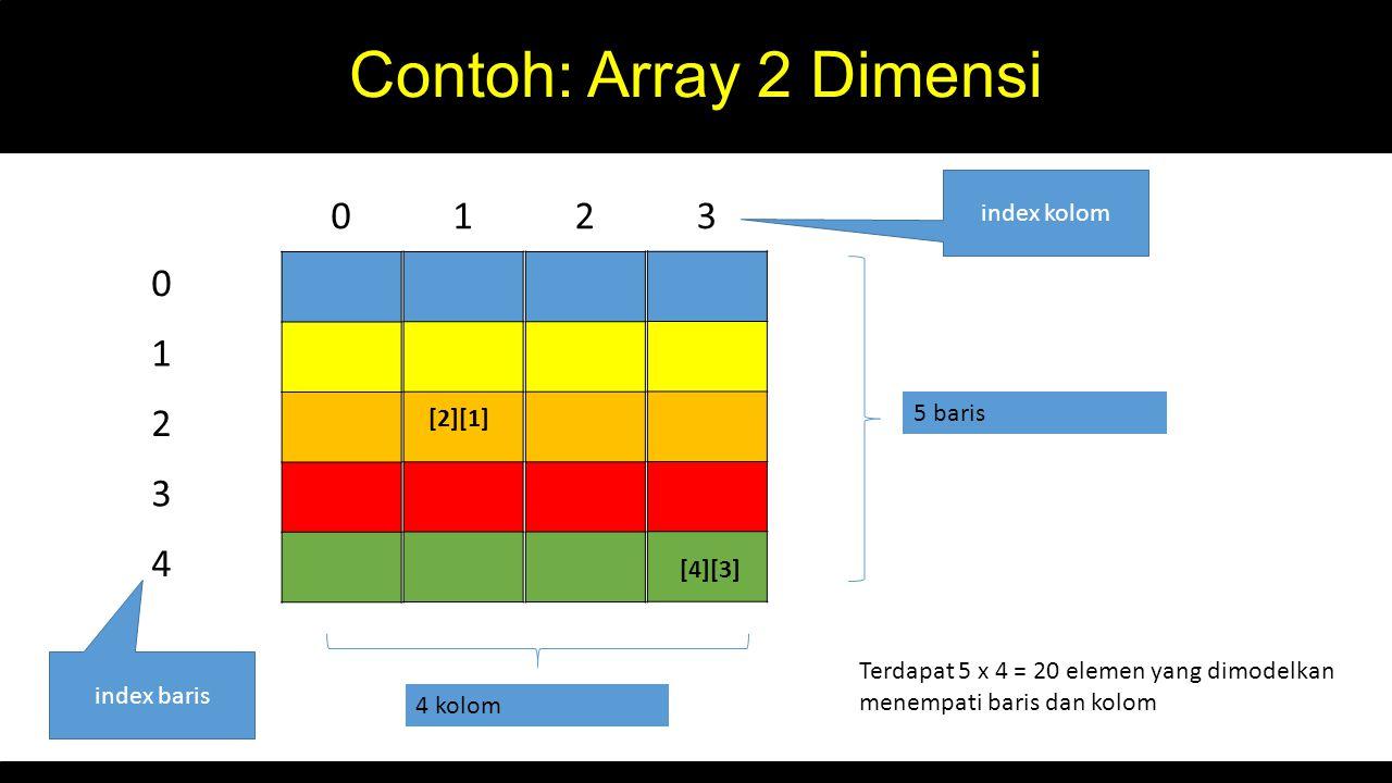Contoh: Array 2 Dimensi 0 1 2 3 4 5 baris index baris 4 kolom Terdapat 5 x 4 = 20 elemen yang dimodelkan menempati baris dan kolom 0123 index kolom [2