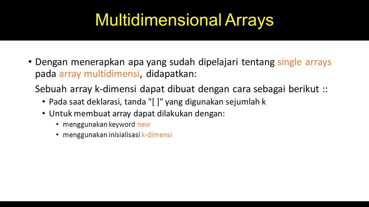 Multidimensional Arrays Dengan menerapkan apa yang sudah dipelajari tentang single arrays pada array multidimensi, didapatkan: Sebuah array k-dimensi