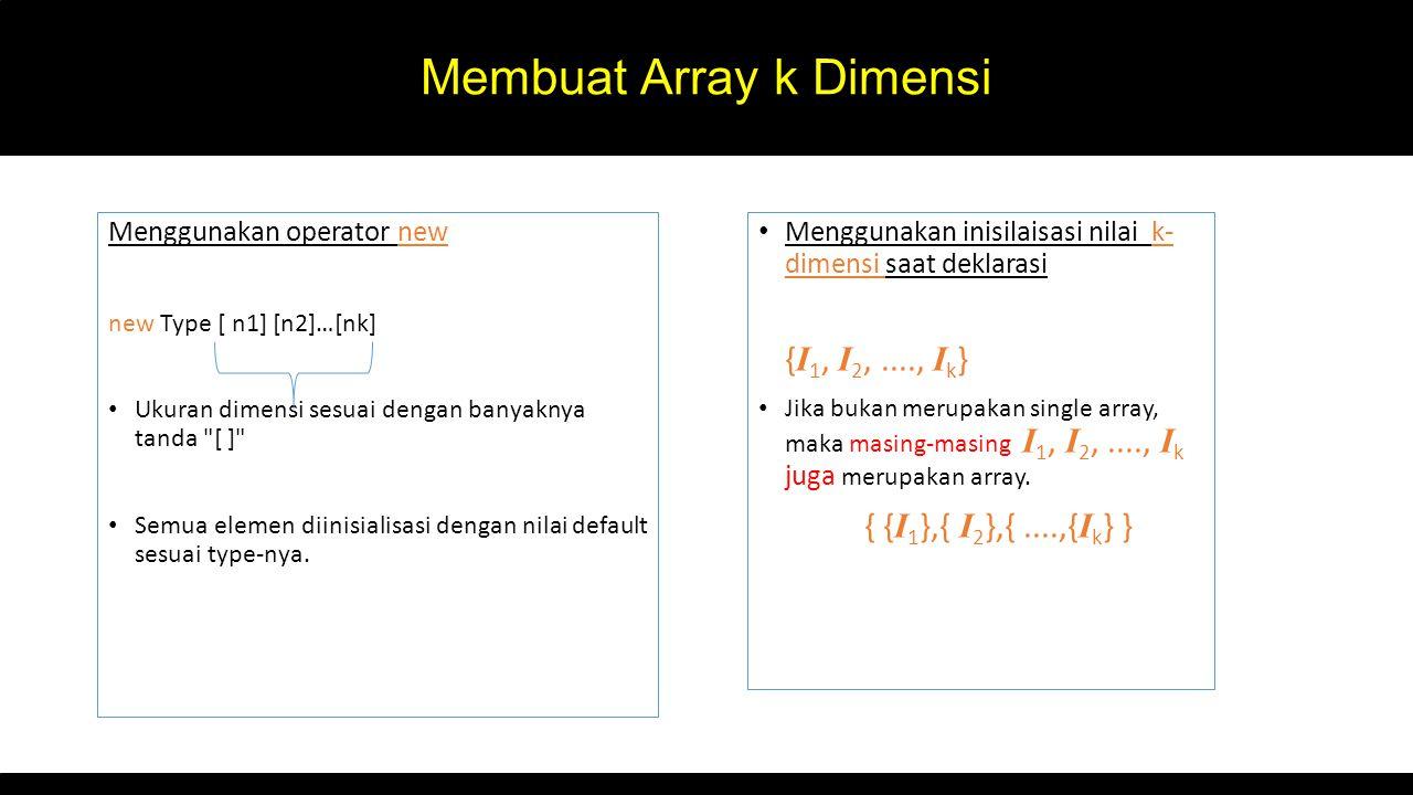 Membuat Array k Dimensi Menggunakan operator new new Type [ n1] [n2]…[nk] Ukuran dimensi sesuai dengan banyaknya tanda