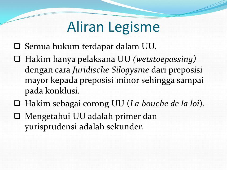 Aliran Legisme  Semua hukum terdapat dalam UU.  Hakim hanya pelaksana UU (wetstoepassing) dengan cara Juridische Silogysme dari preposisi mayor kepa