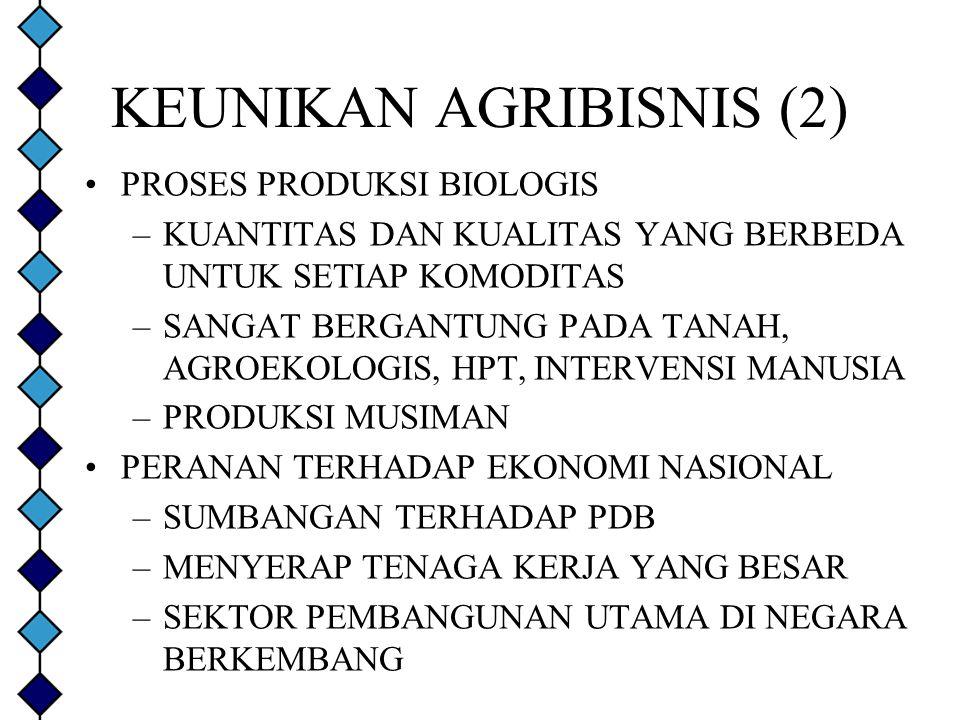 KEUNIKAN AGRIBISNIS (2) PROSES PRODUKSI BIOLOGIS –KUANTITAS DAN KUALITAS YANG BERBEDA UNTUK SETIAP KOMODITAS –SANGAT BERGANTUNG PADA TANAH, AGROEKOLOG