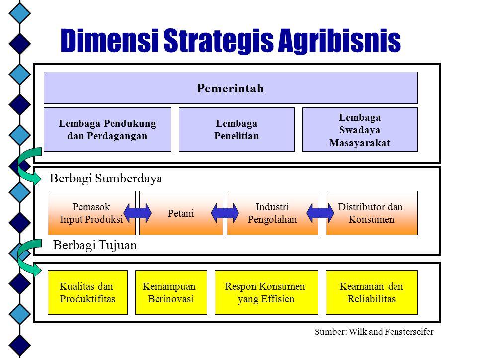 Dimensi Strategis Agribisnis Pemerintah Lembaga Pendukung dan Perdagangan Lembaga Penelitian Lembaga Swadaya Masayarakat Pemasok Input Produksi Petani
