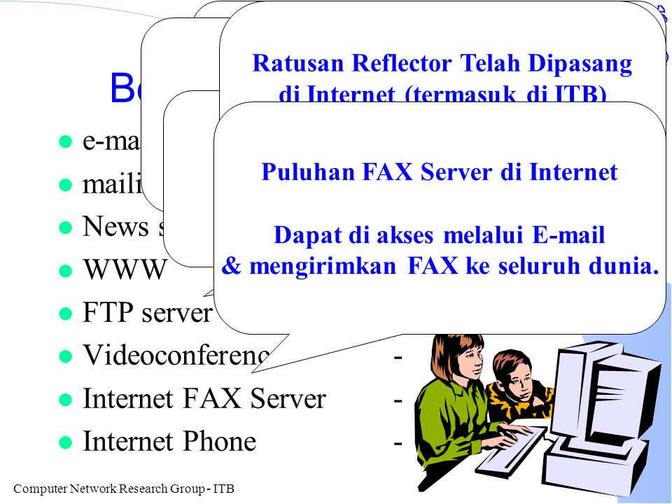 Computer Network Research Group - ITB Bottom Line Operating System O/S Umumnya Internet Ready kunci pada SDM Mampu Internet