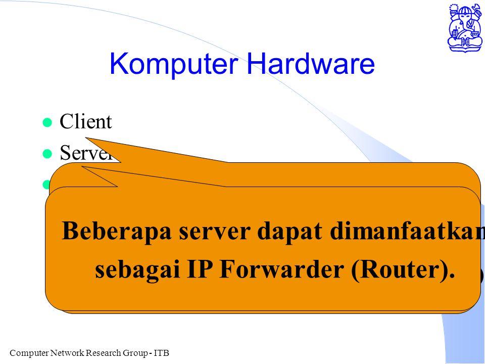 Computer Network Research Group - ITB Corporate / Campus Internet LAN Di Dalam Universitas Tidak Perlu di Ubah ITB: Server Novell dengan 2 Card Ethernet - sebagai Router Hanya Perlu Penambahan Software Internet Di rancang Backbone Dalam Gedung / Kampus Firewall / Proxy 486/586 Untuk: Security & Penghematan IP Address Kampus Network di balik Firewall Menggunakan Kelas A 10.x.x.x IP Dari ISP hanya beberapa buah saja Bisa Memilih Antara 3 Alternatif VSAT TDMA US$ 1500 / month 64Kbps VSAT SCPC US$4000 / m 64Kbps WaveLAN 2Mbps - 15 km US$4000 / node Sewa Leased Line Telkom / Lintasarta Open Network Tempat Meletakan Mesin Public