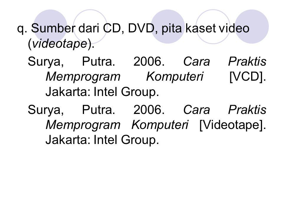 q. Sumber dari CD, DVD, pita kaset video (videotape). Surya, Putra. 2006. Cara Praktis Memprogram Komputeri [VCD]. Jakarta: Intel Group. Surya, Putra.