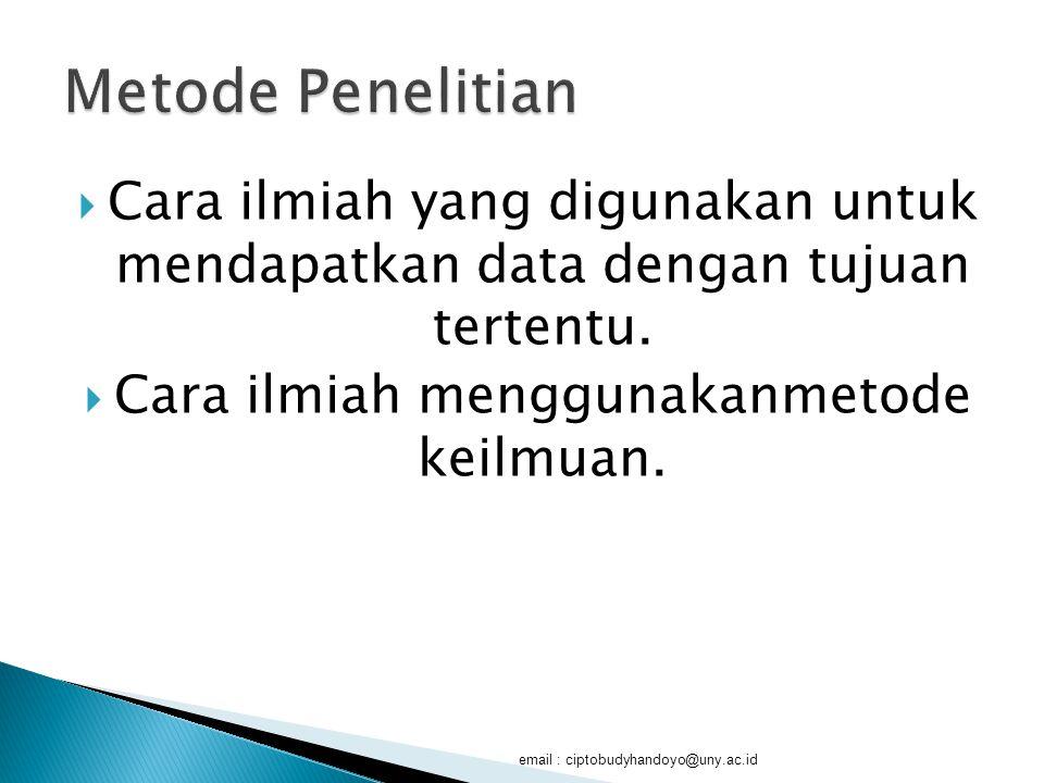  Menurut Penggunaannya  Menurut Metodenya  Menurut Sifat Permasalahannya  Menurut Bidang Ilmu email : ciptobudyhandoyo@uny.ac.id