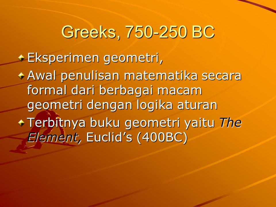 Greeks, 750-250 BC Eksperimen geometri, Awal penulisan matematika secara formal dari berbagai macam geometri dengan logika aturan Terbitnya buku geometri yaitu The Element, Euclid's (400BC)