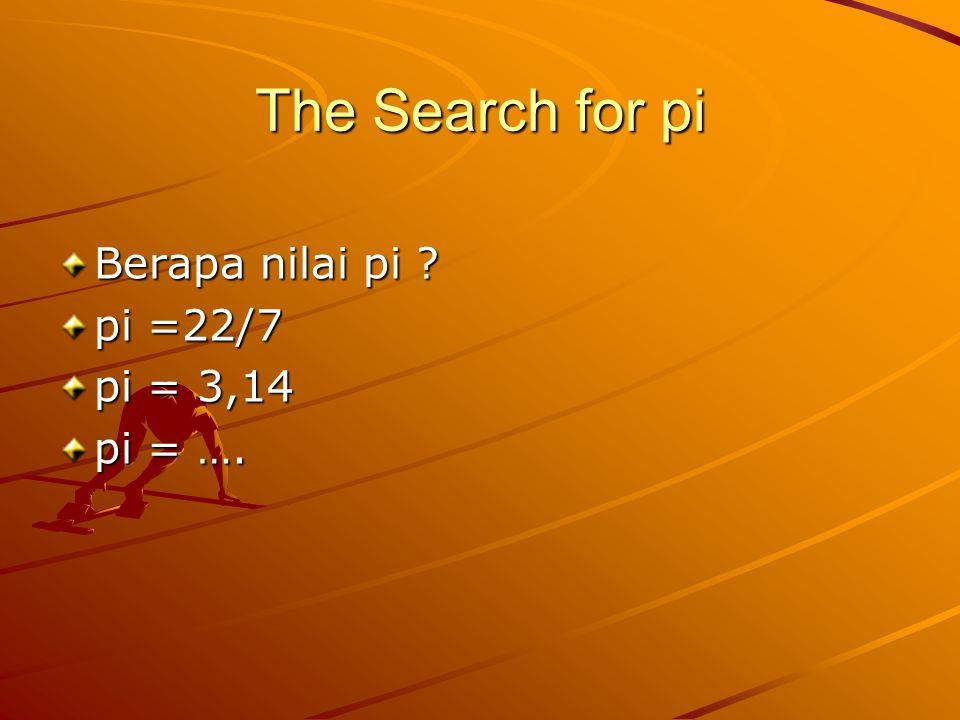 The Search for pi Berapa nilai pi ? pi =22/7 pi = 3,14 pi = ….