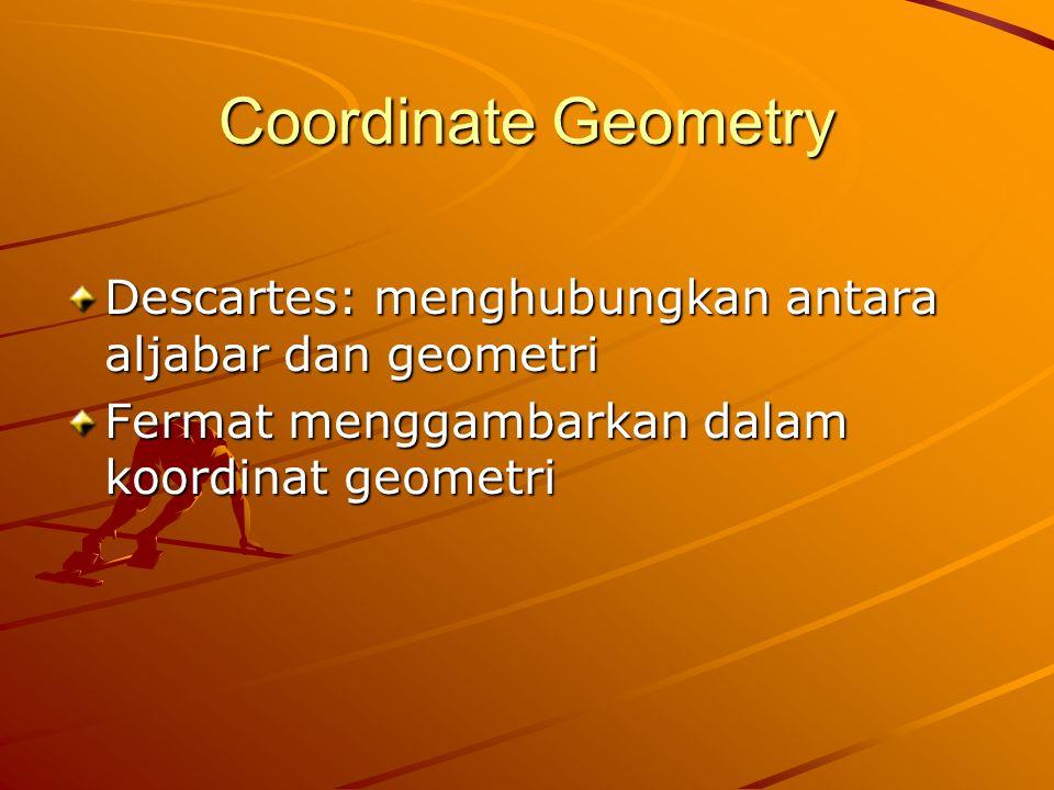 Coordinate Geometry Descartes: menghubungkan antara aljabar dan geometri Fermat menggambarkan dalam koordinat geometri