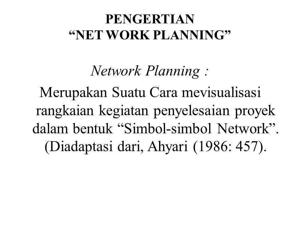 "PENGERTIAN ""NET WORK PLANNING"" Network Planning : Merupakan Suatu Cara mevisualisasi rangkaian kegiatan penyelesaian proyek dalam bentuk ""Simbol-simbo"