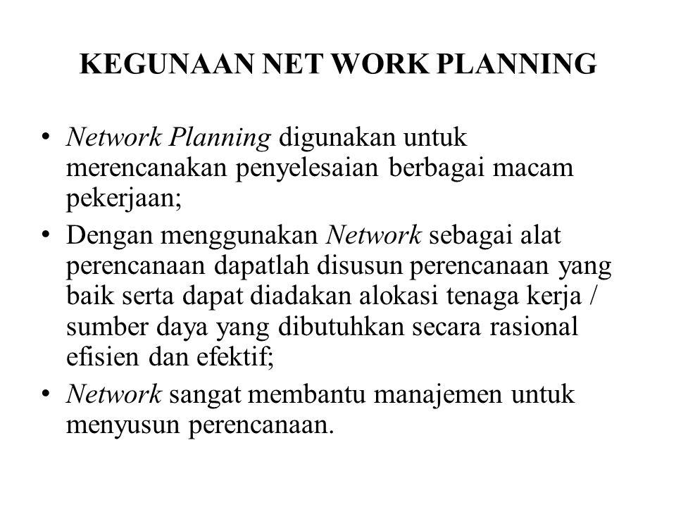 KEGUNAAN NET WORK PLANNING Network Planning digunakan untuk merencanakan penyelesaian berbagai macam pekerjaan; Dengan menggunakan Network sebagai ala