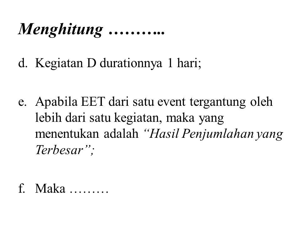 Menghitung ……….. d.Kegiatan D durationnya 1 hari; e.Apabila EET dari satu event tergantung oleh lebih dari satu kegiatan, maka yang menentukan adalah