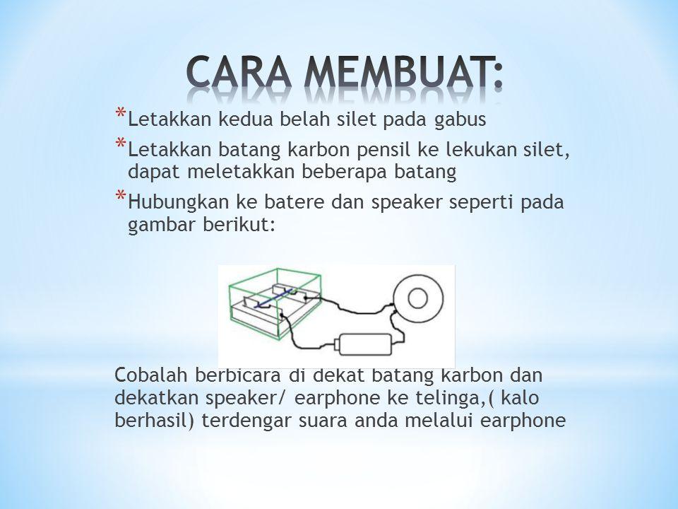 Ketika kita berbicara, perubahan tekanan udara akibat suara kita akan mengakibatkan sedikit perubahan tekanan pula pada batang karbon yang akan mengakibatkan sedikit perubahan resistansinya, sehingga arus yang mengalir ke speaker juga berubah seirama dengan suara;maka suara kita telah disalurkan ke speaker melalui arus listrik.