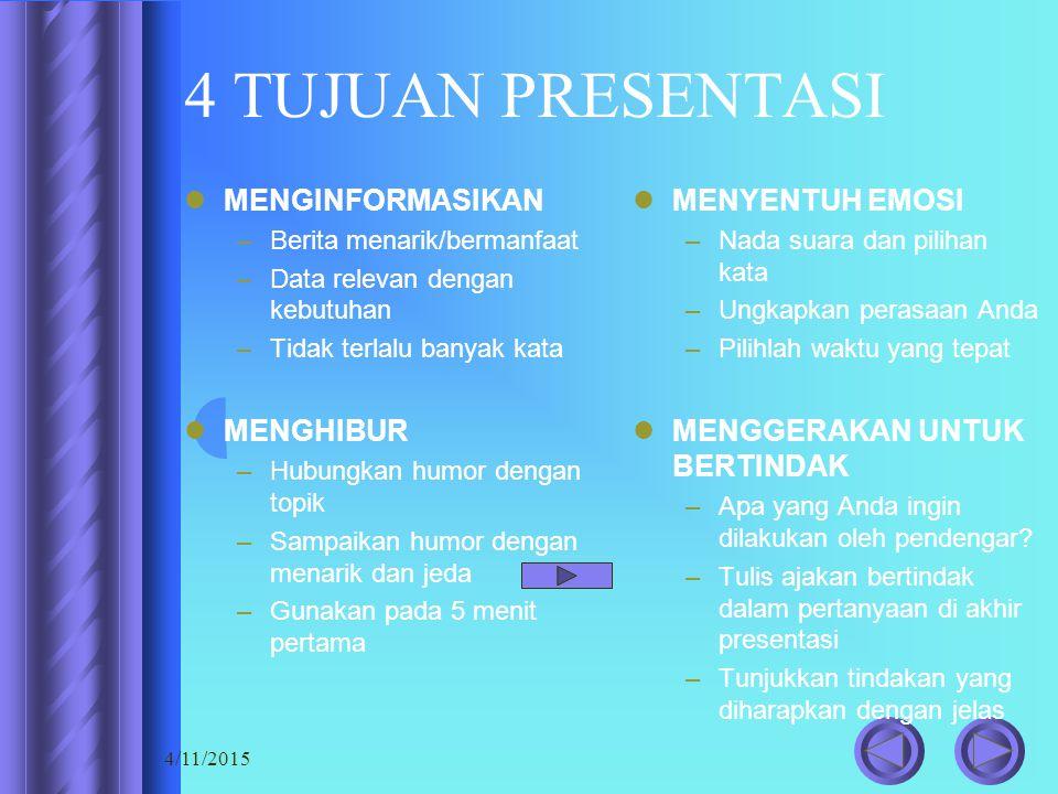 4/11/2015 Nada suara Volume suara Kecepatan suara Kejelasan pengucapan kata-kata Pemilihan kata Bahasa dan logat